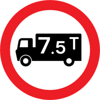 7.5 tonne restriction sign