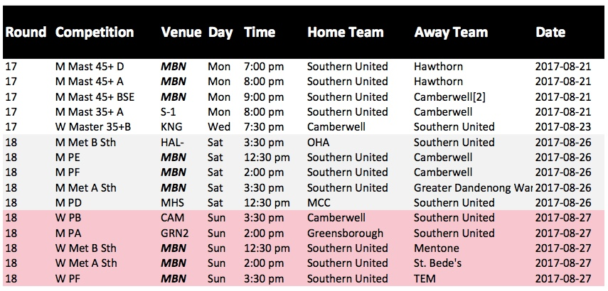 Round 18 Fixtures