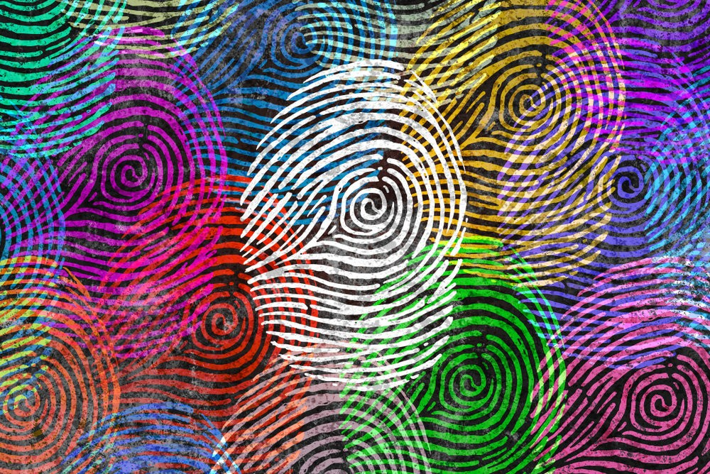 화려한 색의 지문이 여러 개 찍혀있는 듯한 그림