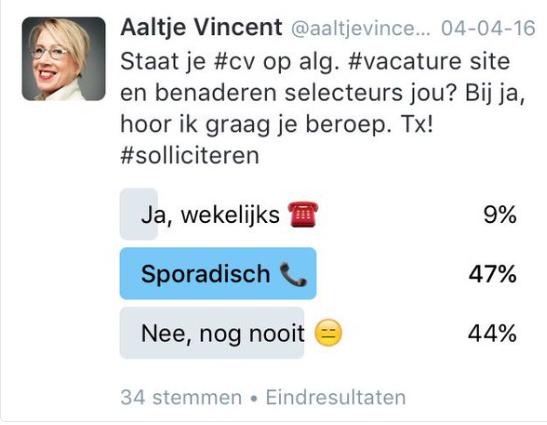 Tweet Aaltje Vincent: benaderen selecteurs jou? 04042016