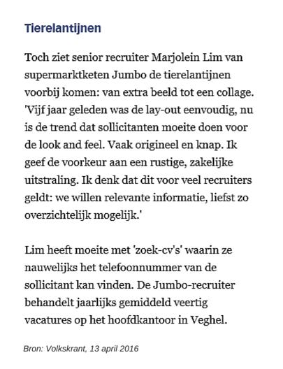 Tierelantijnen, Volkskrant 13042016