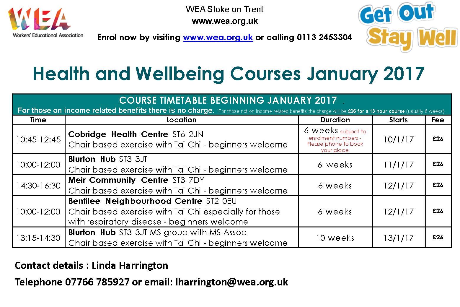 Health & Wellbing courses January 2017