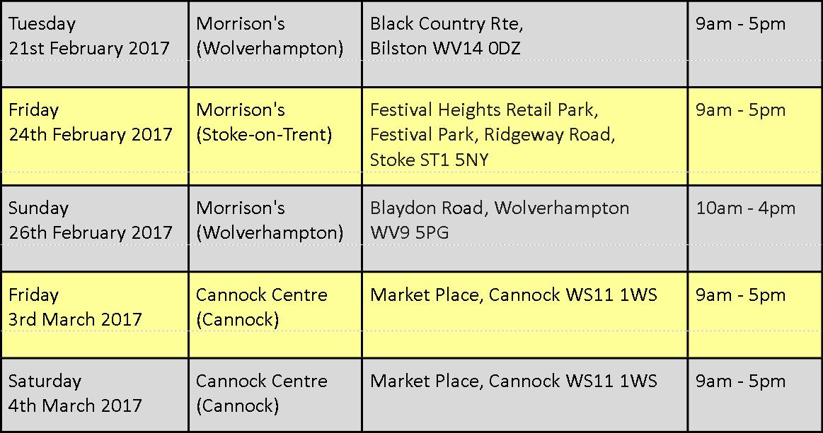 venues and times