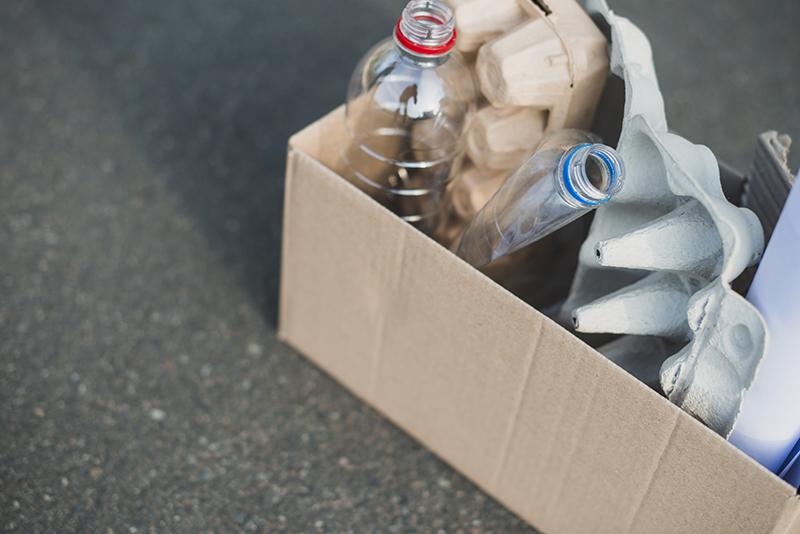 Recycling in a cardboard box