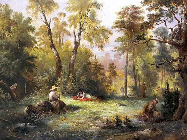 Mushroom picking, artist Franciszek Kostrzewski c. 1860