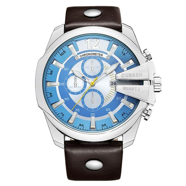 Men Quartz Watch Luxury Big Dial Male Fashion Leather Strap Outdoor Casual Sport Watch with Date Display