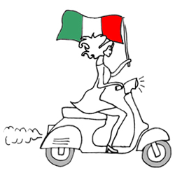 Girl on scooter with Italian flag