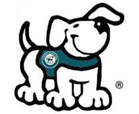 Logo for Handi-Dogs (cartoon service dog in a vest)