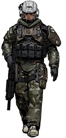 Cartoon Militarized Police Officer