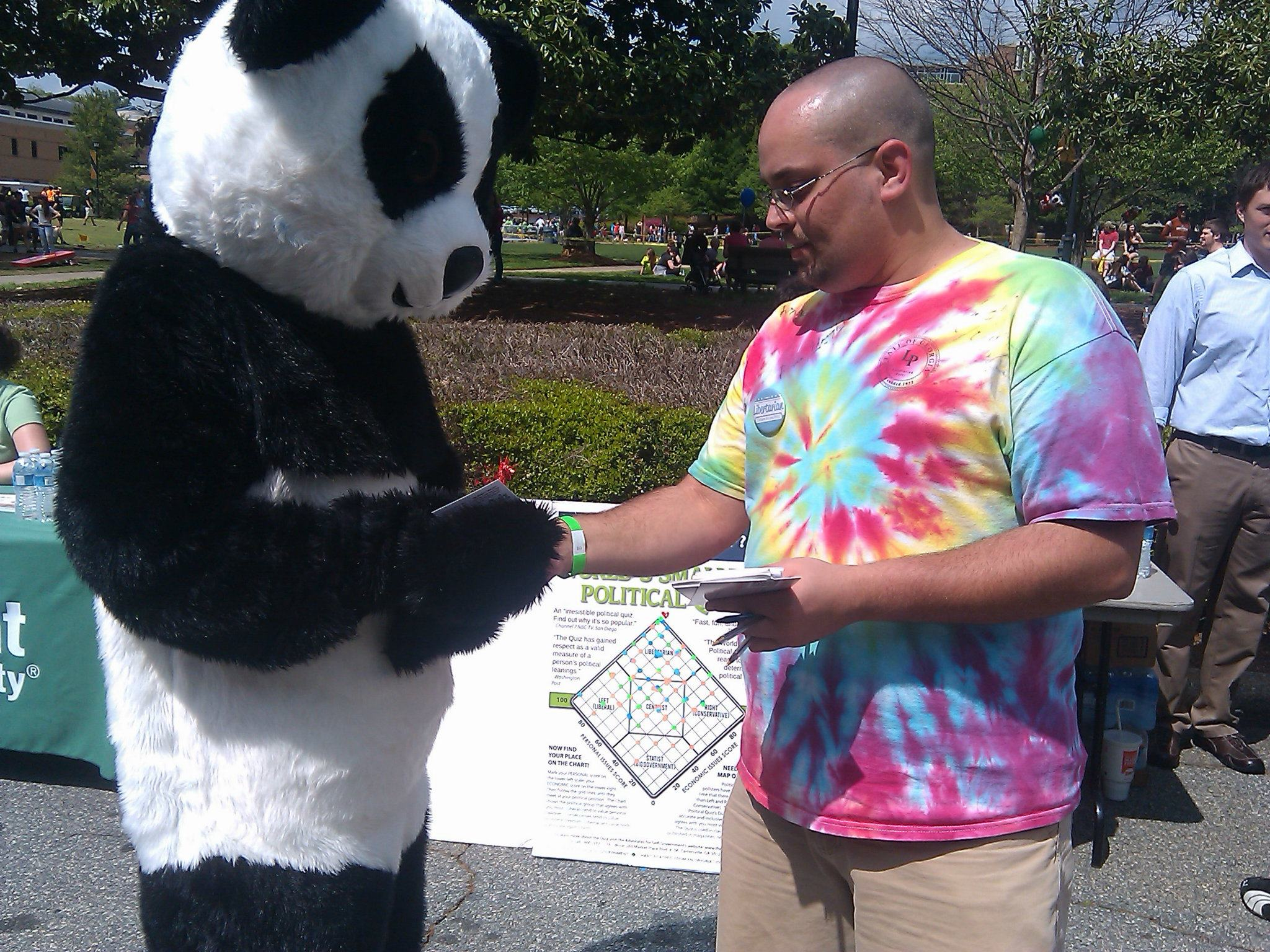 Yes. That's me giving the Quiz to a panda.