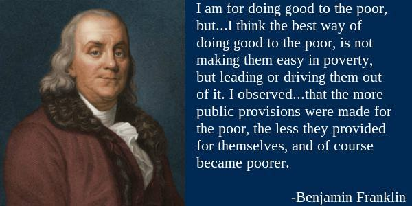 Benjamin Franklin on how to help the poor