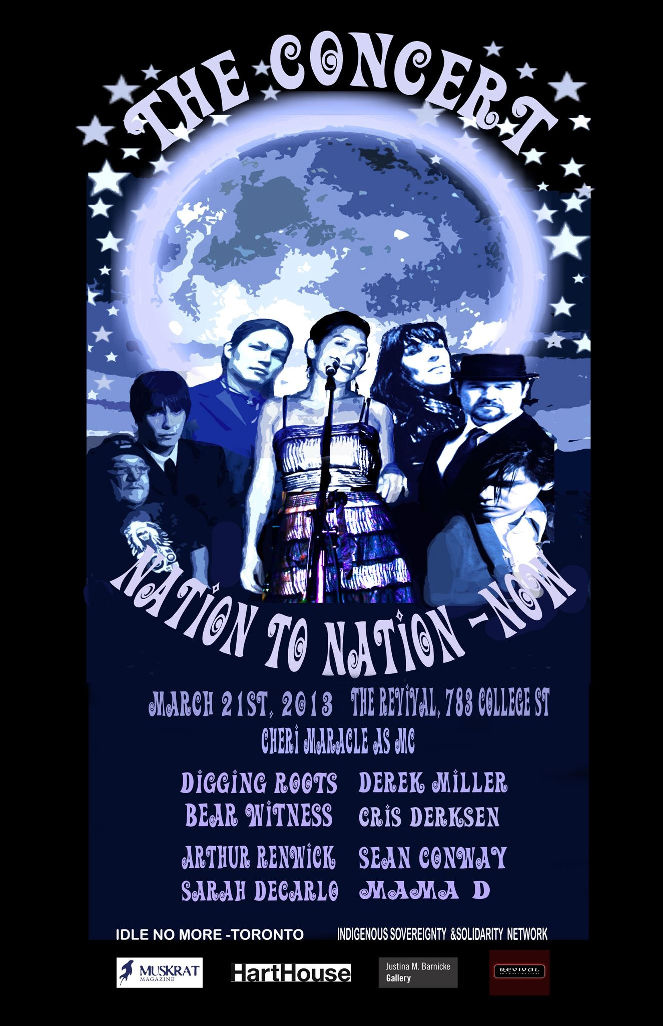 Event poster Nation to Nation Now with a circle of Aboriginal performers with background of the globe behind them
