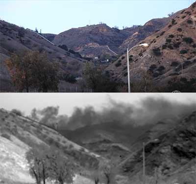 Normal and infrared videos of the SoCalGas methane pollution looking up from Porter Ranch