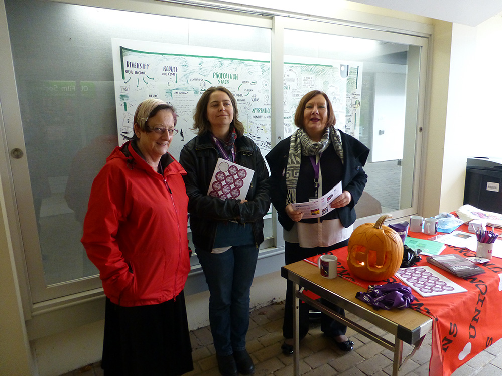 UCU members in the wind tunnel for our recruitment table, November 2016