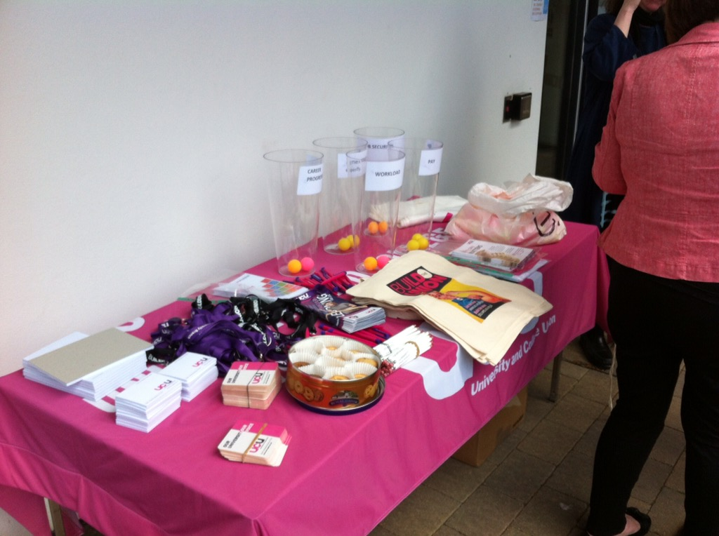 OU UCU recruitment table outside the Hub, 17 May 2016