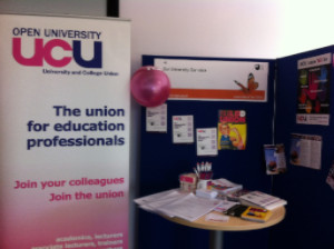 OU branch of UCU stand at the OU's Learn About Fair on Charter Day, April 2016