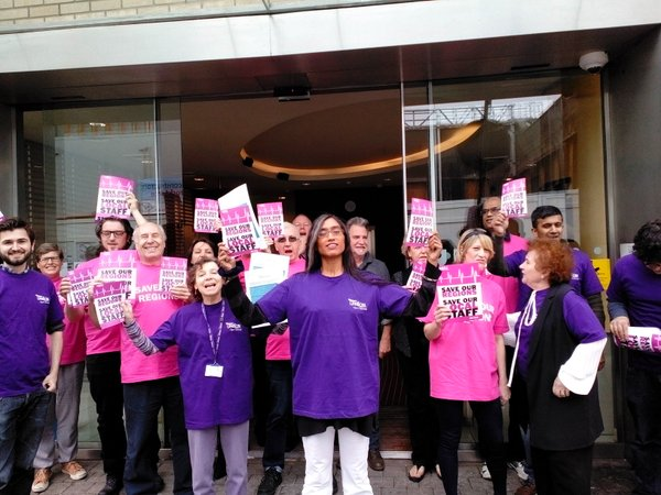 UCU and UNISON members at the flash outside the OU office in Camden, London