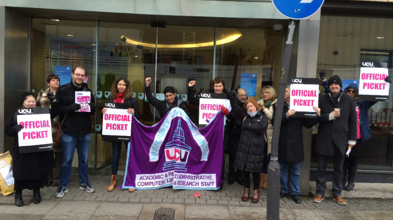 UCU National President joins one of the picket lines outside the OU office in Camden, London