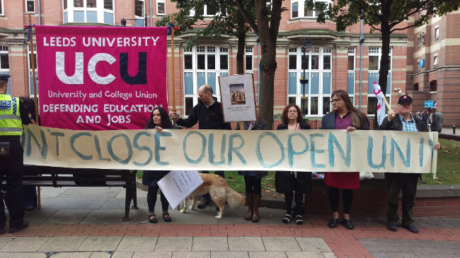 Rally outside the OU office in Leeds - we had support from the Leeds University branch of UCU
