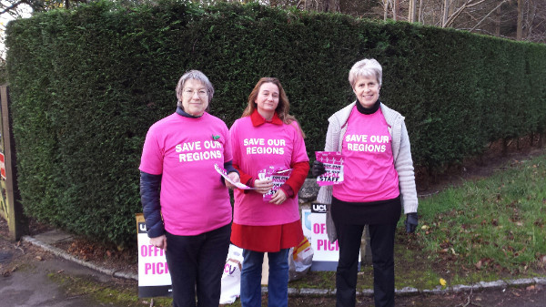 OU UCU members on a picket line at the OU office in Oxford, well done ladies!