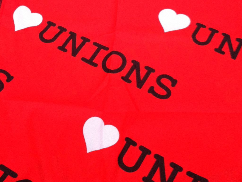"Our new ""heart unions"" table cloth"