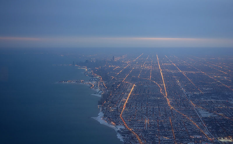 Chicago region at night looking south