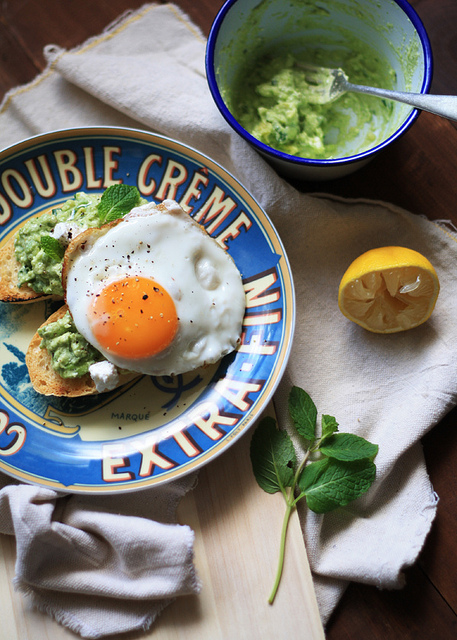 Avocado + Mint Toasties with Fried Eggs