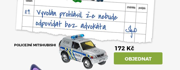 AUTO MITSHUBISHI POLICIE KOV 12CM NA ZPĚTNÉ NATAŽENÍ NA BATERIE 2XLR41SE ZVUKEM SE SVĚTLEM