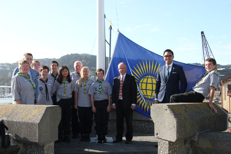 Aaron Hape with Scouts NZ members at Wellington's Commonwealth Flag raising ceremony