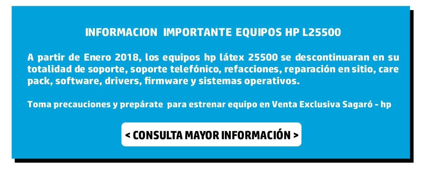 Información importante Equipos hp L25500