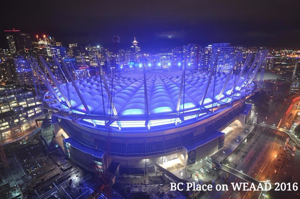 BC Place on WEAAD2016, photo courtesy of BCCRNS