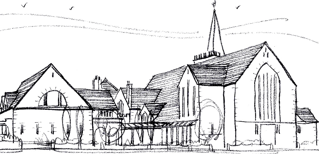 architects sketch of church and hall