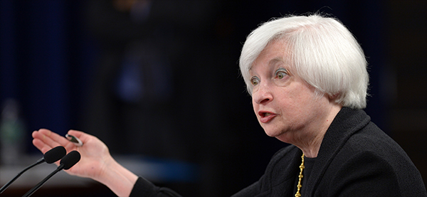 Janet Yellen speaks at a press conference