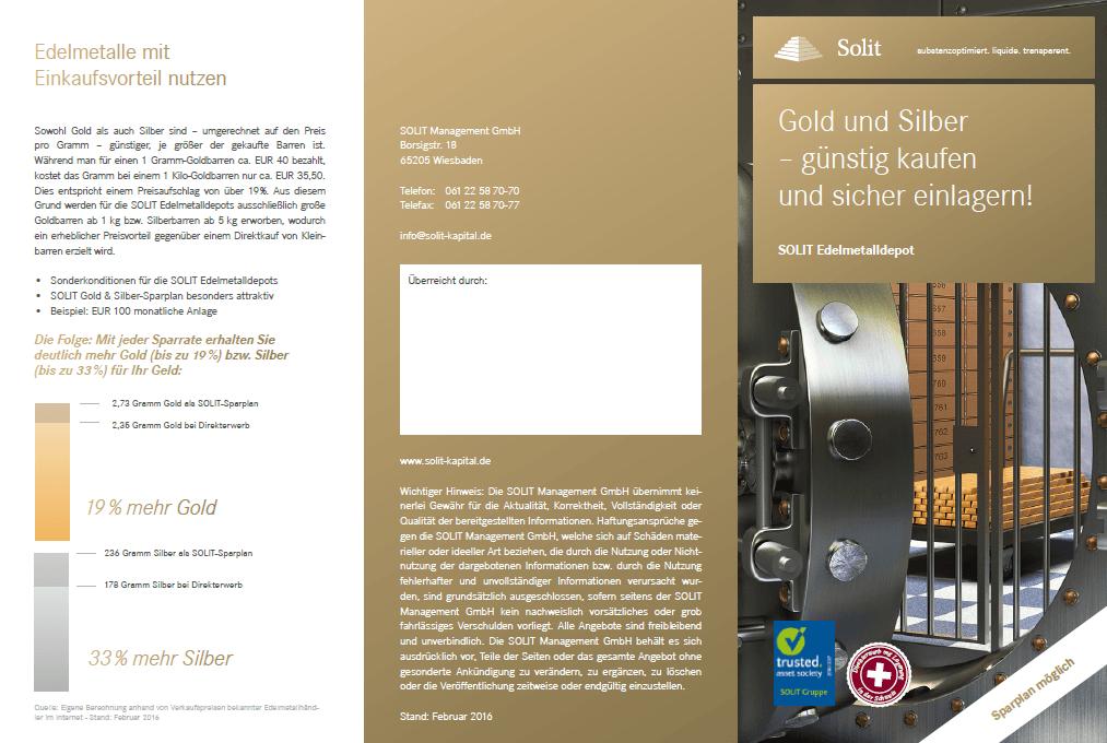 SOLIT Edelmetalldepot - Flyer