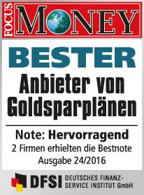 SOLIT Gruppe ist bester Anbieter von Goldsparplänen - Focus Money Siegel