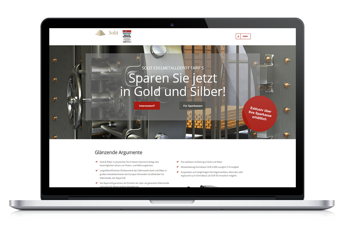 SOLIT Edelmetalldepot Tarif S - Webseite Vorschau