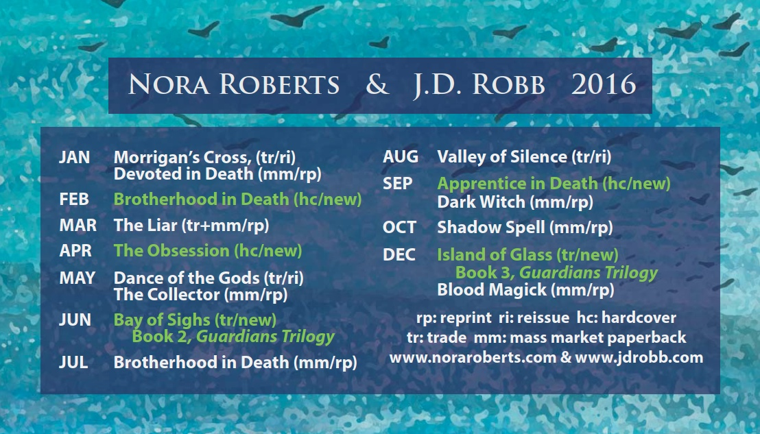 Nora Roberts, J.D.Robb, 2016, Release Schedule, Bea's Book Nook