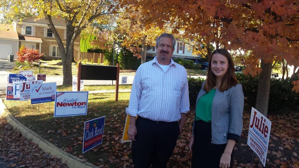 JBANC Managing Director Karl Altau with Karoline Kelder during election day in Rockville, Maryland on November 3, 2015.