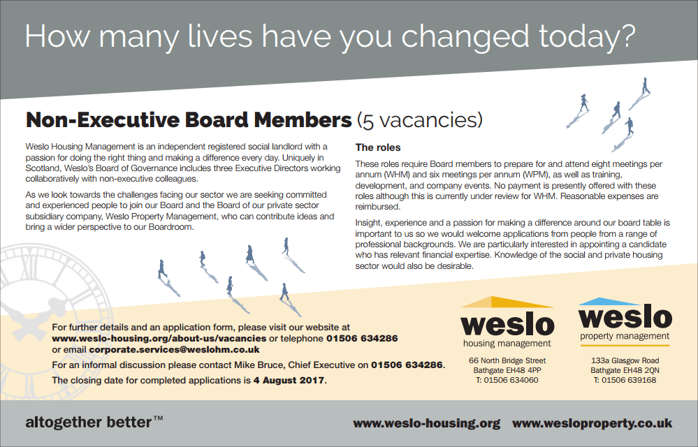 Non-Executive Board Members – Weslo Housing Management
