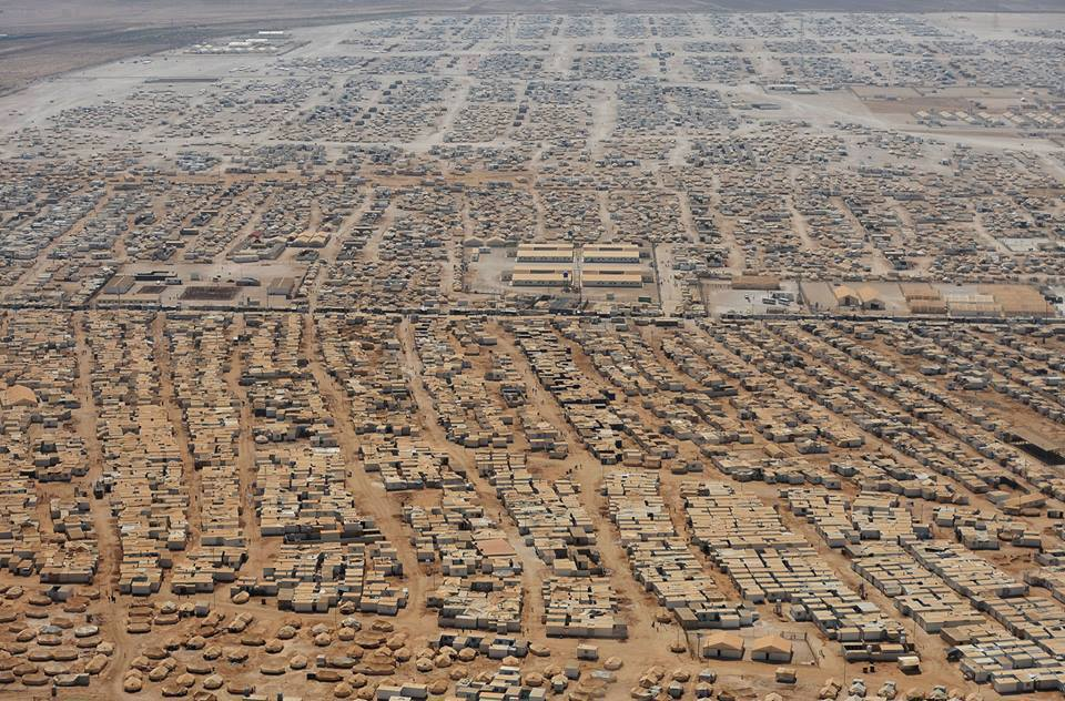 Vue aérienne d'une partie du camp Zaatari.