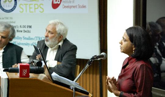 Environmentalist Sunita Narain speaking at the launch