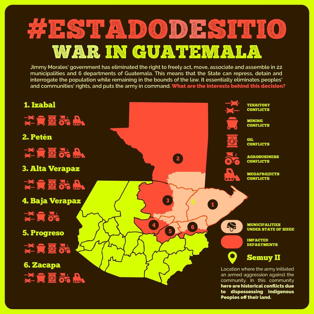 An infographic shows where the state of siege is and the extractive projects most prevalent in each area.