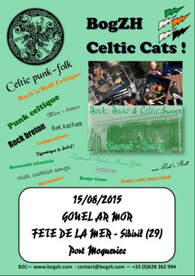 Affiche fête de la mer Sibiril 2015 - BogZH Celtic Cats ! Rock celtique punk folk