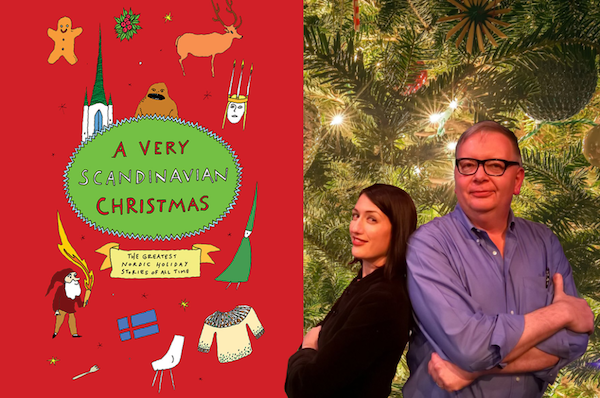 Vanessa Blakeslee and John King and the cover of A Very Scandinavian Christmas