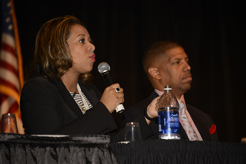 Panelist Pamela Jolly and Kevin Johnson