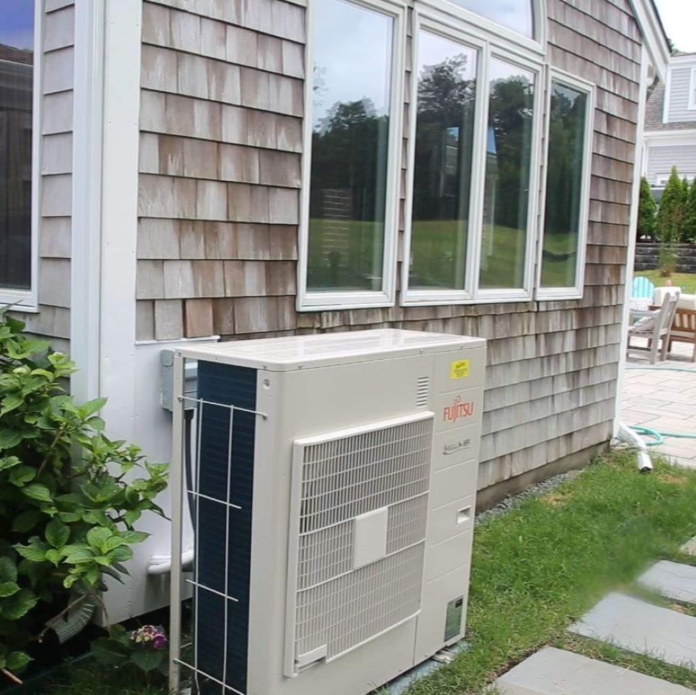 Heat pump outside of home
