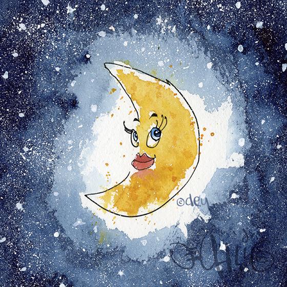 Girl in the Moon Illustration copyright D.E.Uhlig