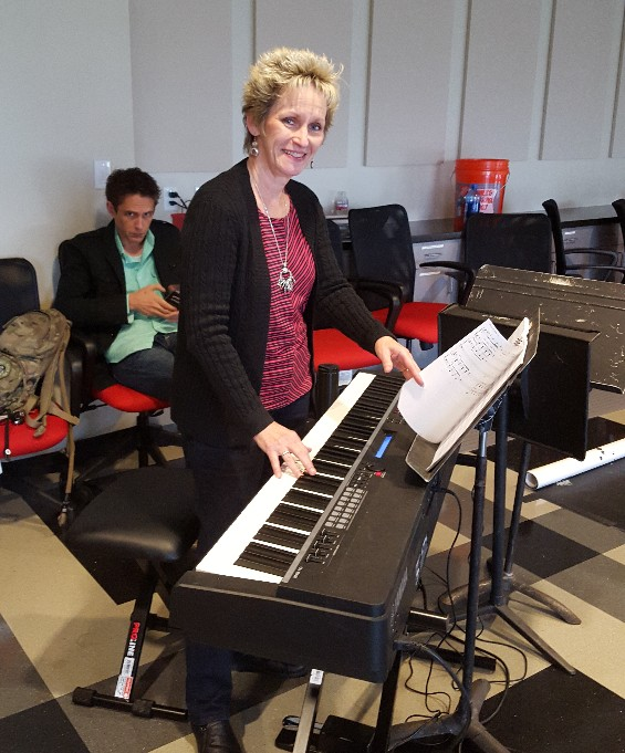 Susan at the keyboard at Shrek Callbacks