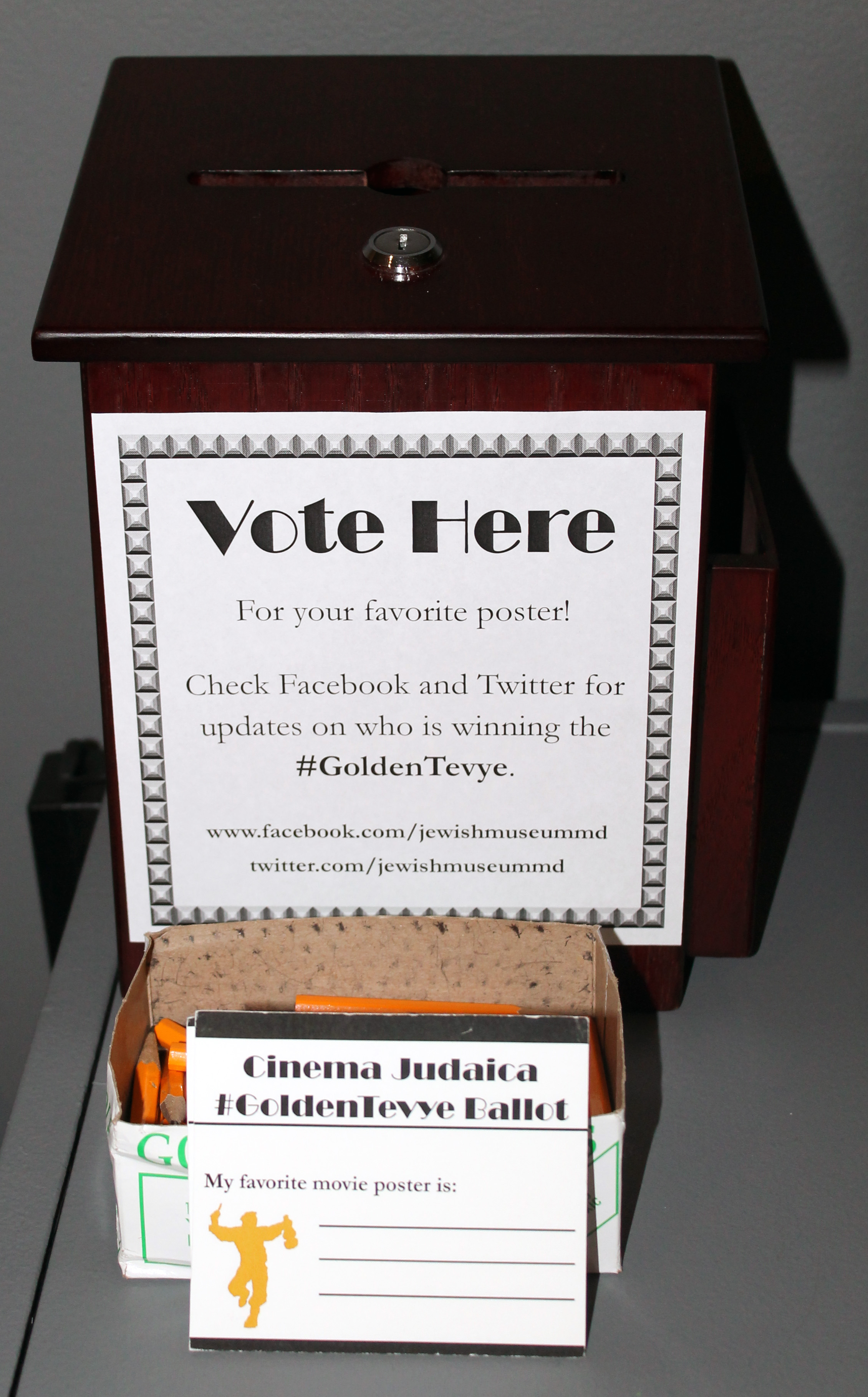 The #GoldenTevye voting box.