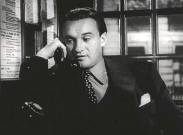 George Sanders in Foreign Correspondent, he is holding a phone to his ear.